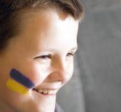 Jeune ventilateur ukrainien d'équipe. Photos stock