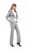 Jeune verticale de femmes de bussines au-dessus de blanc Image stock