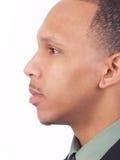 Jeune verticale de profil de plan rapproché d'homme de couleur Photos libres de droits