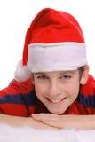 Jeune verticale de sourire de garçon de Joyeux Noël image stock