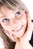 Jeune verticale heureuse de femme Photo libre de droits