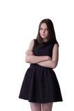 Jeune verticale heureuse de femme d'isolement sur le beauti blanc de fond photos libres de droits