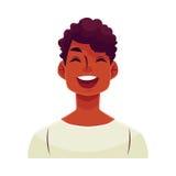 Jeune visage africain d'homme, expression du visage riante illustration stock