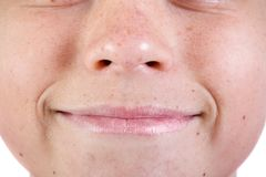 Jeune visage caucasien du ` s d'adolescent photographie stock