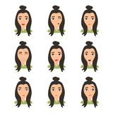 Jeune visage femelle de caract?re avec ?motion diff?rente Fille de brune avec heureux, f?ch?, malheureux, riant, effray?e, wouah, illustration de vecteur