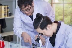 Jeunes étudiant en médecine et aide à la recherche beaux avec des microscopes images stock