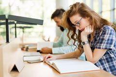 Jeunes étudiants étudiant dans la bibliothèque Images stock