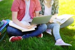 Jeunes étudiants heureux avec l'ordinateur portable, les livres et les notes dehors Photo stock