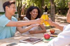 Jeunes étudiants multi-ethniques gais d'amis buvant dehors le juicee Photographie stock