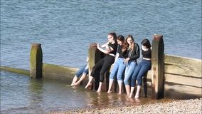 Jeunes adolescents d'ann?es de l'adolescence de groupe au bord de la mer de c?te ayant l'amusement des vacances de vacances banque de vidéos