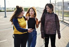 Jeunes adolescents marchant de retour à la maison photographie stock libre de droits