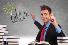 Jeunes affaires dessinant une ampoule d'idée Photos libres de droits