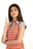 jeunes affichants de la fille une de doigt photos libres de droits