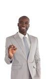 jeunes affichants en bon état de signe d'homme d'affaires Images stock