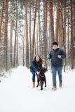 Jeunes ajouter à un chien ayant l'amusement en hiver Photo stock