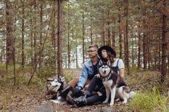 Jeunes ajouter aux chiens dans la forêt Photos stock