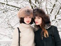 Jeunes amies heureuses adorables de femmes de brune dans des chapeaux de fourrure ayant la forêt neigeuse de parc d'hiver d'amuse Image stock