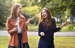 jeunes amies riant avec la crème glacée  Image stock