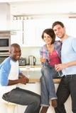 Jeunes amis appréciant la glace de vin dans la cuisine Images libres de droits
