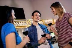 Jeunes amis avec le verre à vin au restaurant Images stock