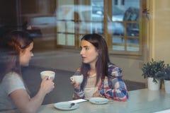 Jeunes amis communiquant au café Photos stock