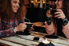 Jeunes amis dans un café Photographie stock libre de droits