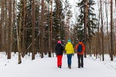 Jeunes amis en bois d'hiver Photos libres de droits