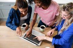Jeunes amis féminins à l'aide de l'ordinateur portable tout en buvant du café Photos stock