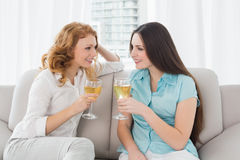 Jeunes amis féminins avec des verres de vin à la maison Photographie stock