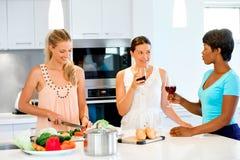 Jeunes amis féminins dans la cuisine Image libre de droits