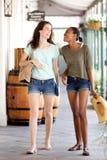 Jeunes amis féminins heureux marchant ensemble Images stock