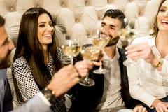Jeunes amis grillant avec du vin blanc Images libres de droits