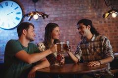 Jeunes amis grillant des tasses de bière Images libres de droits