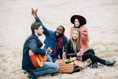 Jeunes amis heureux avec la guitare au pique-nique Image libre de droits