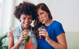 Jeunes amis heureux buvant du jus de fruit frais ensemble Images libres de droits