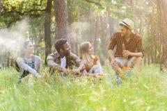 Jeunes amis heureux détendant en nature Image stock