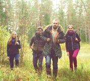 Jeunes amis heureux marchant dans la forêt et appréciant un bon automne Images stock