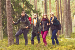 Jeunes amis heureux marchant dans la forêt et appréciant un bon automne Photos stock
