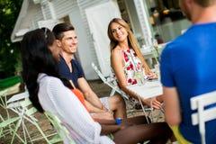 Jeunes amis multiraciaux au café Image stock