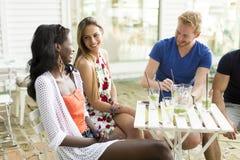 Jeunes amis multiraciaux au café Images stock