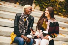 Jeunes amis multiraciaux en parc d'automne Photographie stock libre de droits