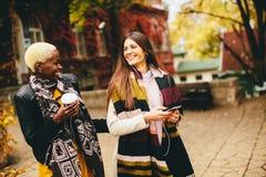 Jeunes amis multiraciaux marchant autour de la ville Photos stock