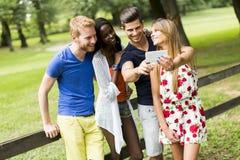 Jeunes amis multiraciaux prenant le selfie en parc Photo libre de droits