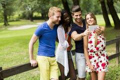 Jeunes amis multiraciaux prenant le selfie en parc Photographie stock libre de droits