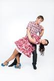 Jeunes beaux couples dans la danse Images libres de droits