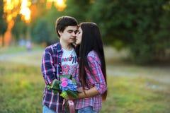 Jeunes beaux couples embrassant et souriant au coucher du soleil en été Photo stock