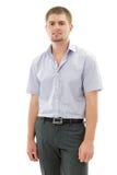 Jeunes beaux gais d'homme attirant d'isolement sur le backgro blanc Photographie stock