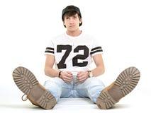 jeunes blancs d'homme d'isolement par fond Photographie stock libre de droits