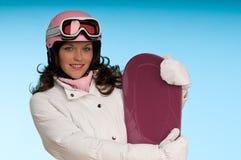 jeunes blancs roses de femme de l'hiver d'équipement image stock