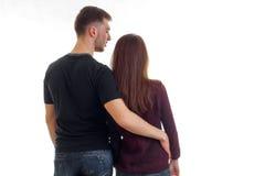 Jeunes caresse et support affectueux de couples avec le votre de nouveau à l'appareil-photo Images stock